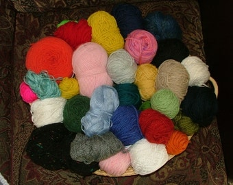 Mystery Grab Bag, 3 lbs, Mostly Worsted Weight, Some Hand Dyed, Assorted Yardage, Assorted Fibers Destash Crochet Knit - Box 4