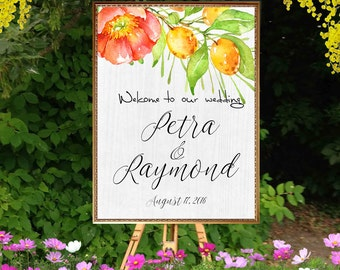 Welcome printable wedding sign. Digital summer wedding sign. Citrus fruits and flowers , white wood. Welcome reception entrance sign