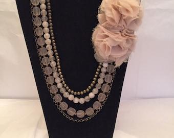 Retro Romantic Blush Beaded Multi Strand Necklace
