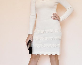 Knitted dress with crochet 4379