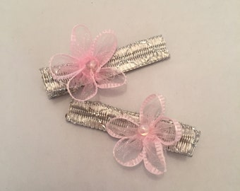 Silver and Pink Barrettes, Set of 2
