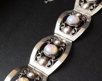 Incredible vintage fire opal sterling silver bracelet