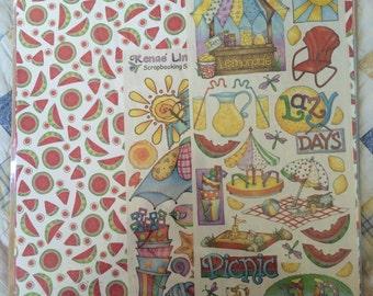 Scrapbook kit, 12 x 12 scrapbook papers, summer stickers, Renae Lindgren scrapbooking stickers.