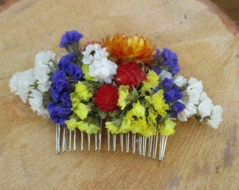Wedding hair comb dried flowers hair comb bridal hair comb bridal headpiece hair accessories, rustic wedding comb wild flowers hair comb