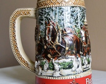 """1003: Budweiser 1987 """"C Series"""" Beer Stein With Clydesdale Horses With American Eagle on Handle at Treasure Unburied"""