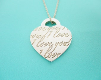 "Tiffany & Co. I Love You Sterling Silver Necklace on a Tiffany 16"" Chain"
