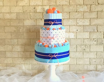 Blue and Orange Baby Boy Diaper Cake, Baby Shower Gift for Boy, Boy Baby Shower Diaper Centerpiece and Decoration