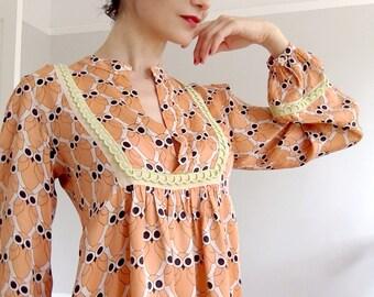 Patrizia Pepe Firenze 60's style 100% silk print dress.