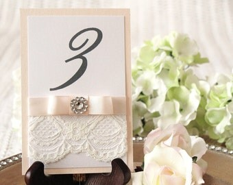 Blush Pink Table Numbers with Ribbon and Lace, Peach Table Number with Lace, Vintage Blush Wedding Decor