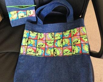 New Large Denim Ninja Turtles Tote bag/matching Pouch 16 1/2 x 15 1/2