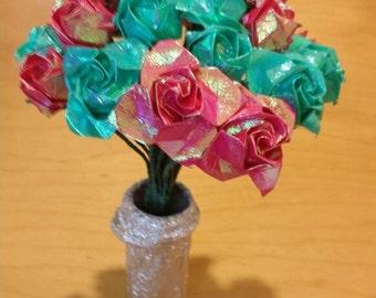 2 dozen sparkling origami roses in flower pot