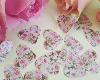 Vintage Pink Rose Wedding Table Confetti 150 Hearts Vintage Shabby Chic