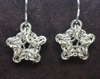 Byzantine Star Chainmail Earrings - Sterling Silver