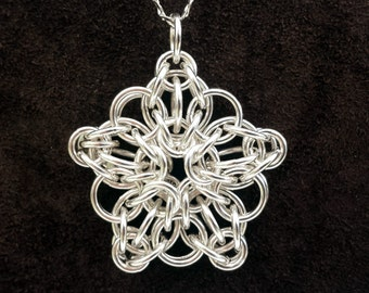 Celtic Star Chainmail Pendant - Sterling Silver