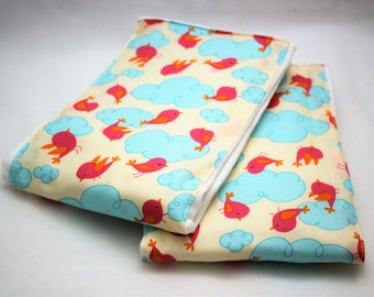 Premium Baby BURP CLOTHS - Set of 2 - Cute BIRDS In The Clouds Print