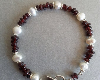 Red Garnet and Freshwater Pearl bracelets