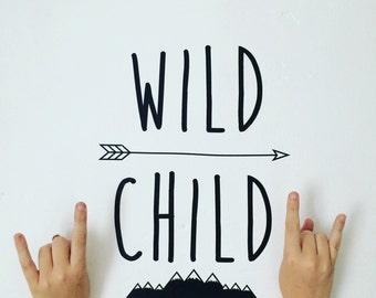 Wild Child Wall Decal~ Mountains Decor~ Wild Child Stickers~ Nursery Wall Stickers~ Adventure Decor~ Wild Child Wall Sticker ~ Wall Stickers