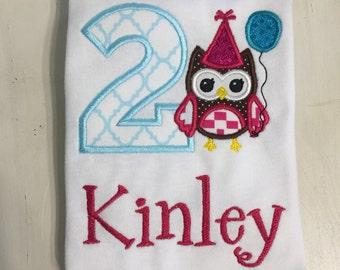 Owl First 1st Birthday Shirt // Owl Shirt // Girl Birthday Shirt // Monogrammed Birthday Shirt // Owl Birthday Shirt for Girls // 2nd Second