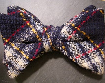 Vintage Ormond Bow Tie Clip On Blue Yellow and Red Plaid 1960s 1970s