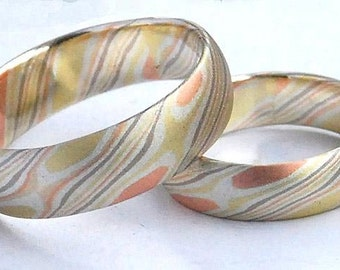 Four colors mokume gane wedding bands