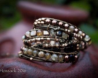 Embellished Four Wrap Bracelet - Green Garnet, Miyuki tila Beads, Ethopian Hand-Made Metal Beads,