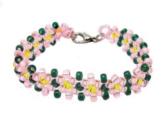 Kids flower bracelet - bracelets - pink / green (BS-1327)