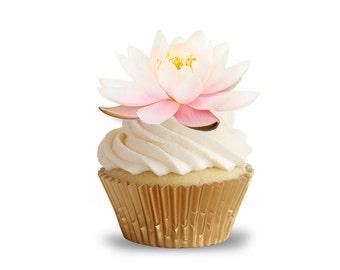 Pink Lotus Flower Pre Cut Cupcake Toppers