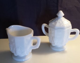 Vintage Westmoreland milk glass cream and sugar with lid