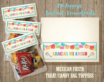 Mexican Fiesta- Candy or Treat Favor Bag Toppers INSTANT DOWNLOAD