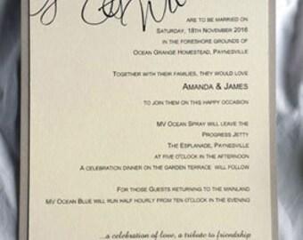 ELEGANT HANDMADE Wedding Invitations – SAMPLE