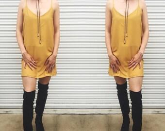 Handmade Womens Backless Adjustable Slip Mini Dress // Mustard