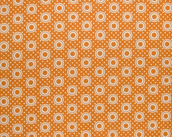 Orange Fabric Orange Pie Plate in Orange Pie Making Day by Brenda Ratliff RjR Fabric Cotton Quilting Fabric, 1/2 Yard Increments