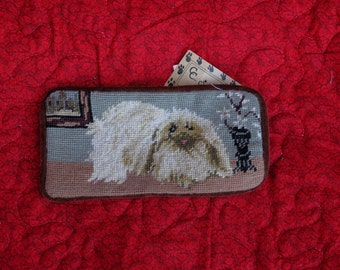 dog needlepoint coin purse