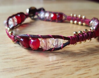 Reds Single Wrap Leather Bracelet