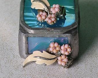 Vintage 1950's enamel and beaded earrings