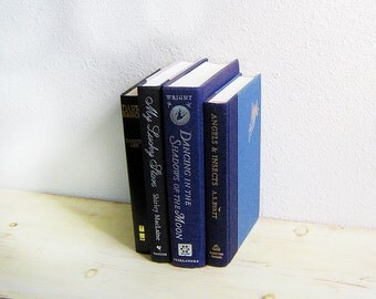 Decorative Books, Black Books, Blue Books, Book Collection, Instant Library, Vintage Books, Old Books, Black and Blue, Blue and Gold