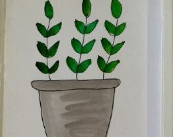 Handpainted greeting card - herb pot