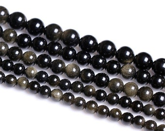 Natural Gold Obsidian, Natural Stone Beads, Gold Obsidian Beads, Round Beads, Semi Precious, Gemstone Beads, 4 6 8 10 12 14 16 mm, (CB009)