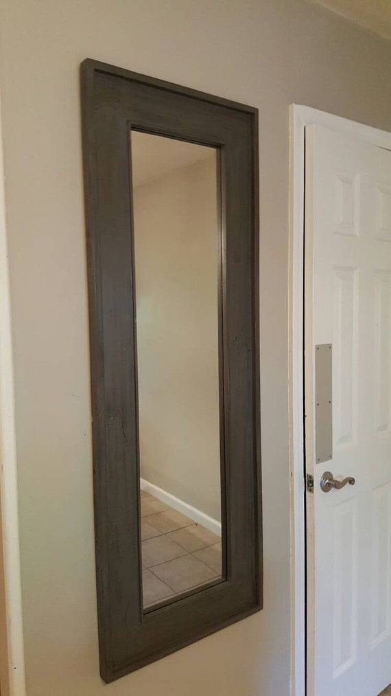 Items similar to full length mirror with deep grey antique for Gray full length mirror