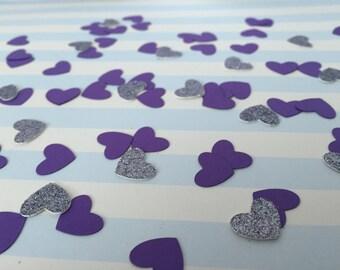 Mini Heart Confetti, Heart Shaped Confetti, Purple and Silver Heart Confetti, Bridal Shower, Wedding, Baby Shower, Birthday Party