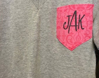 Made to order embroidered initial pocket v-neck