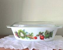 Pyrex JAJ Market Garden/Tuscany #524 Oval Dish with Lid 2.5 Pint