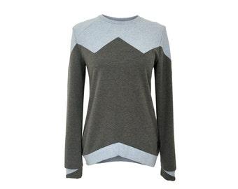 eisbörg Bovo sweater grey x blue - casual geometric patchwork Sweatshirt