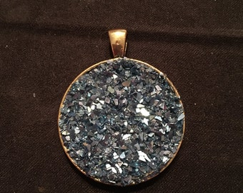 Blue Druzy Round Pendant, Gold-Plated