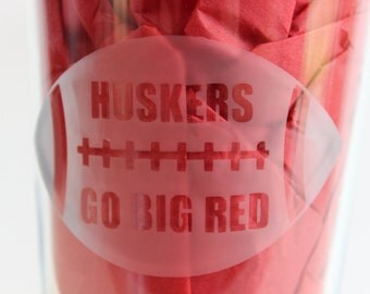 Football Drinking Glass // Go Big Red //Huskers // Glass etched product // Gifts for Him