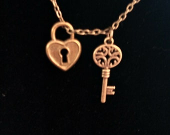 key and heart lock necklace