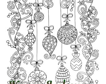 Christmas - Happy Decorations, 1 Adult Coloring Book Page,  Christmas Decorations, Karen Lukens
