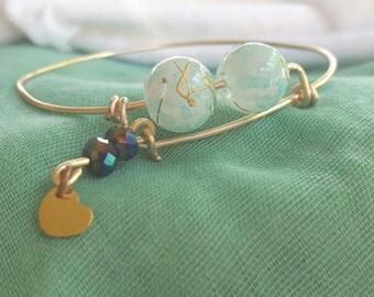 Blue sky gold wire bracelet