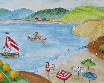 Watercolor Watercolor Painting Naeve naive Summer Season summer