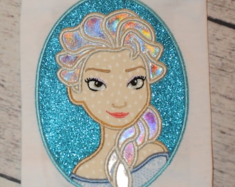 Cold Frozen Snow Queen Cameo Applique Embroidery Design 4x4 5x7 6x10 Elsa INSTANT DOWNLOAD